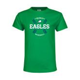 Youth Kelly Green T Shirt-Baseball Seams