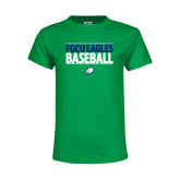 Youth Kelly Green T Shirt-Baseball Stacked