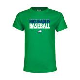 Youth Kelly Green T Shirt-Baseball Stacked