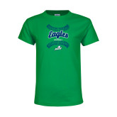 Youth Kelly Green T Shirt-Softball Seams