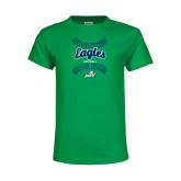Youth Kelly Green T Shirt-Softball Seams