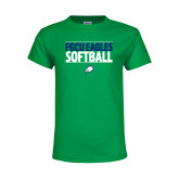 Youth Kelly Green T Shirt-Softball Stacked