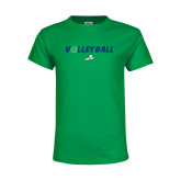 Youth Kelly Green T Shirt-Volleyball w/ Ball