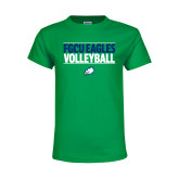 Youth Kelly Green T Shirt-Volleyball Stacked