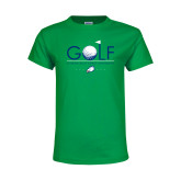 Youth Kelly Green T Shirt-Golf Flag and Ball