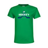 Youth Kelly Green T Shirt-Hockey Crossed Sticks w/ Puck