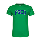 Youth Kelly Green T Shirt-Arched FGCU