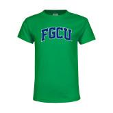 Youth Kelly Green T Shirt-Arched FGCU