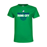 Youth Kelly Green T Shirt-Dunk City Stacked w/ Net