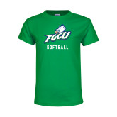 Youth Kelly Green T Shirt-Softball