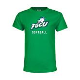 Youth Kelly Green T Shirt-Softball