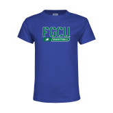 Youth Royal T Shirt-Basketball Stencil