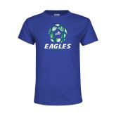 Youth Royal T Shirt-Soccer Ball Design