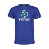 Youth Royal T Shirt-Soccer Ball Design