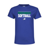 Youth Royal T Shirt-Softball Stacked