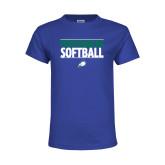 Youth Royal T Shirt-Softball Stacked