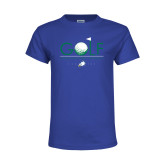 Youth Royal T Shirt-Golf Flag and Ball