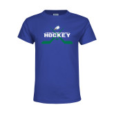 Youth Royal T Shirt-Hockey Crossed Sticks w/ Puck