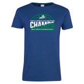 Ladies Royal T Shirt-Regular Season Champions 2017 Mens Basketball Half Ball Design