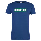 Ladies Royal T Shirt-ASUN Champions 2017 Mens Basketball