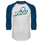 White/Royal Raglan Baseball T Shirt-Primary Athletic Mark