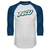 White/Royal Raglan Baseball T Shirt-FGCU
