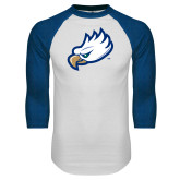 White/Royal Raglan Baseball T Shirt-Eagle Head