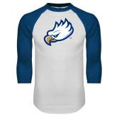 White/Royal Raglan Baseball T Shirt-Eagle Head