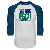 White/Royal Raglan Baseball T Shirt-We Are FGCU