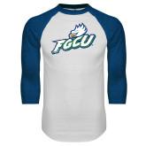 White/Royal Raglan Baseball T Shirt-Primary Athletic Mark Distressed