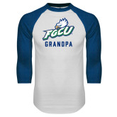 White/Royal Raglan Baseball T Shirt-Grandpa