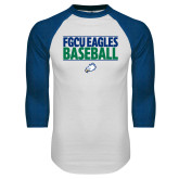 White/Royal Raglan Baseball T Shirt-Baseball Stacked
