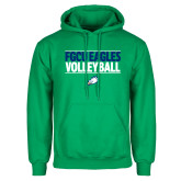 Kelly Green Fleece Hoodie-Volleyball Stacked