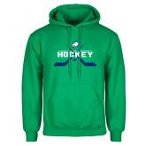 Kelly Green Fleece Hoodie-Hockey Crossed Sticks w/ Puck