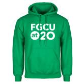 Kelly Green Fleece Hoodie-FGCU at 20 Stacked