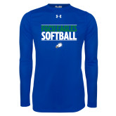 Under Armour Royal Long Sleeve Tech Tee-Softball Stacked