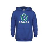 Youth Royal Fleece Hoodie-Soccer Ball Design