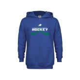 Youth Royal Fleece Hoodie-Hockey Crossed Sticks w/ Puck