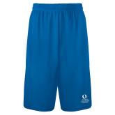 Performance Royal 9 Inch Length Shorts-University Mark Stacked