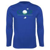 Performance Royal Longsleeve Shirt-Golf Flag and Ball