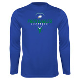 Syntrel Performance Royal Longsleeve Shirt-Lacrosse Abstract Stick