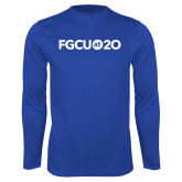 Performance Royal Longsleeve Shirt-FGCU at 20 Flat