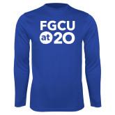 Performance Royal Longsleeve Shirt-FGCU at 20 Stacked