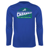 Syntrel Performance Royal Longsleeve Shirt-Regular Season Champions 2017 Mens Basketball Half Ball Design