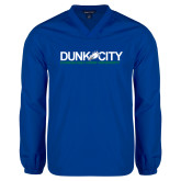 V Neck Royal Raglan Windshirt-Dunk City Official Logo