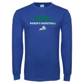 Royal Long Sleeve T Shirt-Basketball Half Ball