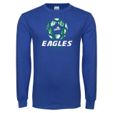 Royal Long Sleeve T Shirt-Soccer Ball Design