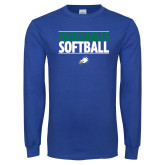 Royal Long Sleeve T Shirt-Softball Stacked