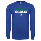 Royal Long Sleeve T Shirt-Volleyball Stacked
