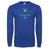 Royal Long Sleeve T Shirt-Lacrosse Abstract Stick
